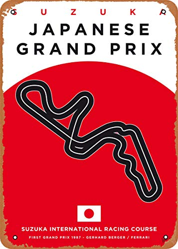 Wanfst Vintage Look Metal Sign - My F1 Racetrack Posters My F1 Suzuka Race Track - 8 x 12 Tin Sign