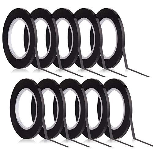 Kuuqa Schwarzes Whiteboard Tape 3mm Breite Graphic Tape Charts Bänder Gitter Markierungsband Selbstklebend, 10 Rollen.