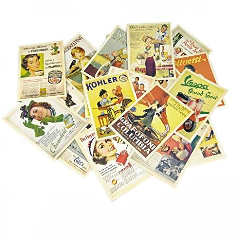 Yueton 32 Pcs 1 Set Vintage Retro Old Europe Dancing Travel Advertising Album Postcard Greeting Post Cards for Collecting
