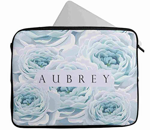 Personalised Any Name Floral Design Laptop Case Sleeve Tablet Bag Chromebook Gift 20 (16-17 inch)