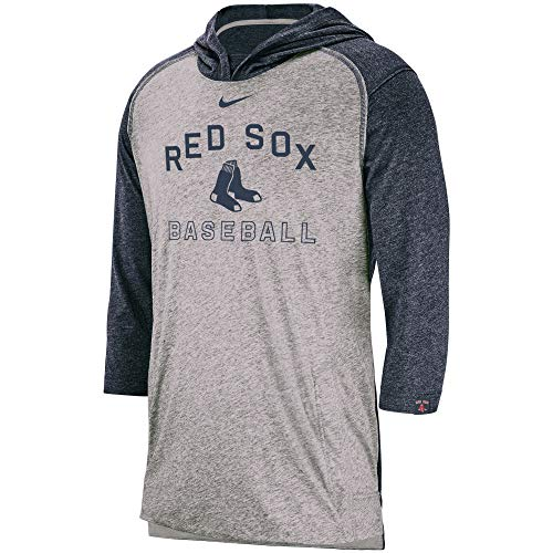 Nike Men's Boston Red Sox Heathered Gray Flux Performance 3/4-Sleeve Pullover Hoodie (X-Large)