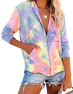 LookbookStore Casual Fall Clothes Tie Dye Knit Active Hoodie Sweatshirt for Women Long Sleeves Zip Up Sweatshirt Top Multicolored Size 2XL