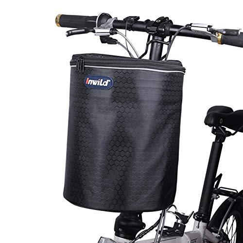 Stronrive Fahrradkorb Vorne Rollerkorb Fahrrad Vorne Träger Lenkerkorb Fahrrad Vorderkorb Klappbar Fahrrad Einkaufskorb Hundekorb mit reflektierendem Gurt für Scooter Balance Bikes