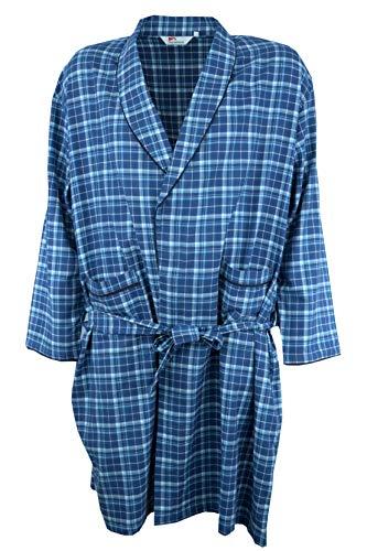 Maracheno Leichter Herren Bademantel Morgenmantel Morgenrock, 100{e9cf6c7464485146b1747707b92f03f8f94213df50152b490783cbf432ff7923} Baumwolle, klasisches Karo Design, Blau oder Schwarz, Übergrößen 2XL 3XL 4XL 5XL 6XL 7XL 8XL (Blau, 2XL)