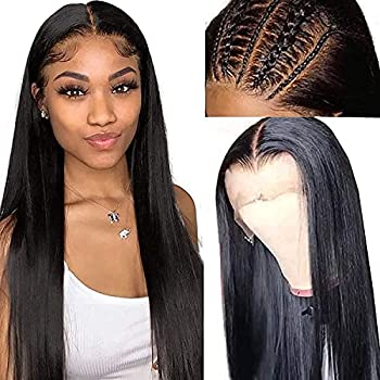 Lace Front Wigs Human Hair,13x4 Straight Lace Frontal Wigs Human Hair Pre Plucked with Baby Hair Glueless Human Hair Wigs for Black Women,150% Density Brazilian Real Hair Natural Color
