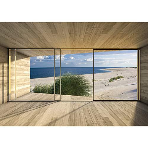 Vlies Fototapete PREMIUM PLUS Wand Foto Tapete Wand Bild Vliestapete - Terrasse Balkon Fenster Holzwand Strand Meer Gras Wolken Dünen - no. 1530, Größe:312x219cm Vlies