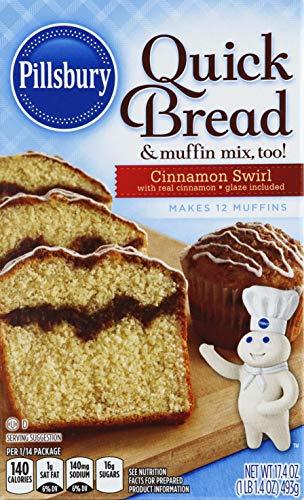 Pillsbury Quick Bread Baking Mix, Cinnamon Swirl, 17.4 Ounce Boxes (Pack of 12)