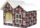 GUOXY Cama suave para gatos, casa de mascotas, casa de lana de cordero con techo puntiagudo, caseta para gatos, tienda de campaña triangular, café