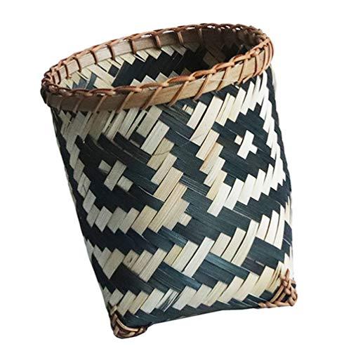 BESPORTBLE Rattan Storage Basket Wicker Woven Garbage Can Environment- Friendly Storage Wastebasket Storage Basket for Home Office Kitchen Bedroom Size L