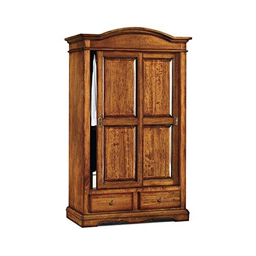 Armoire avec Portes coulissantes, Style Classique, en Bois Massif et MDF avec Finition Noyer Brillant - Dim. 122 x 59 x 200