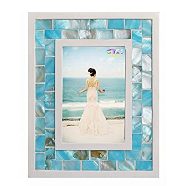 GIFTME 5 Picture Frame 5x7 Mother of Pearl Mosaic Photo Frame,Beach Tabletop Picture Frames(5x7 inch, Blue)