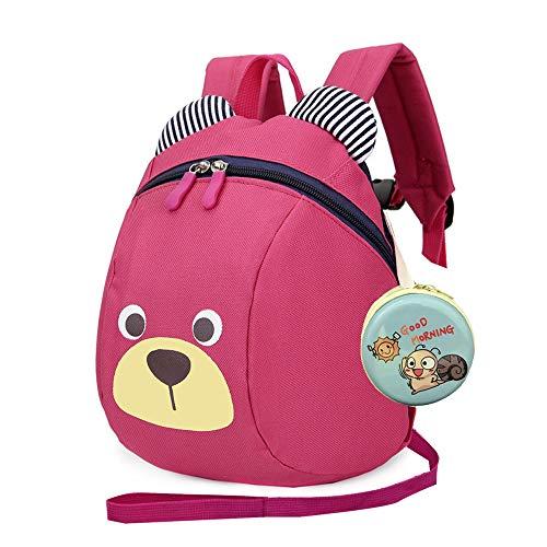 MCUILEE Süß Bär Mini Rucksack Kinder Babyrucksack Kindergartenrucksack Backpack Schultasche Kleinkind Mädchen Jungen mit Sicherheit Geschirre Zügel,Rose Rot