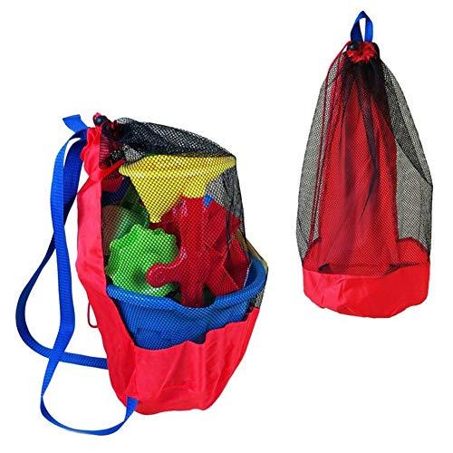 Ardorlove Mesh Beach Bag - Trekkoord Pouch - Strand Zuurbestendige Schoudertas - Zakje Opvouwbare Mesh Bag - Speelgoed Organizer Manden voor Zwembad Speelgoed, Sport Voetbal Bal, Basketbal