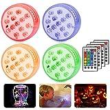 Luces Sumergibles, 4 Pack Luz LED Impermeable, Control Remoto Bajo El Agua Luz para Decoración Acuario, Estanque, Bodas, Decoloración Colorida, Luces Decorativas [Clase de eficiencia energética A]