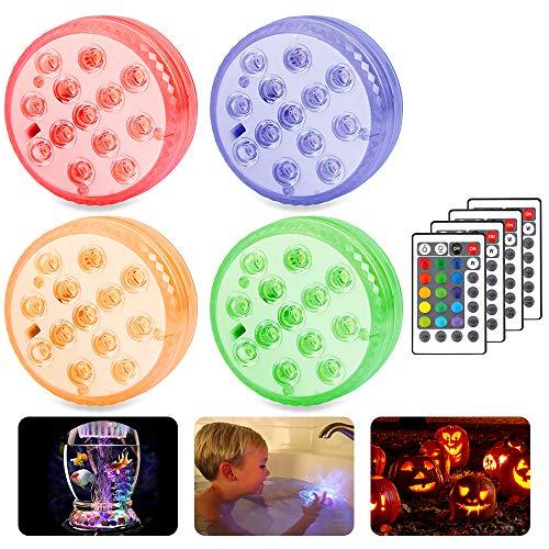 Mitening 4 Stück Unterwasser Licht, LED mit Fernbedienung 13-LED Beleuchtung RGB Multi Farbwechsel IP68 Wasserdichte Leuchte für Vase Base Aquarium Weihnachten Schwimmbad Halloween Weihnachten Party