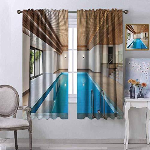 Jinguizi House Decor Collection Drapery Apartment with Indoor Pool Wooden Ceiling Private Residence Stylish Home Perspective Picture Short Curtain Panels for Bedroom & Kitchen