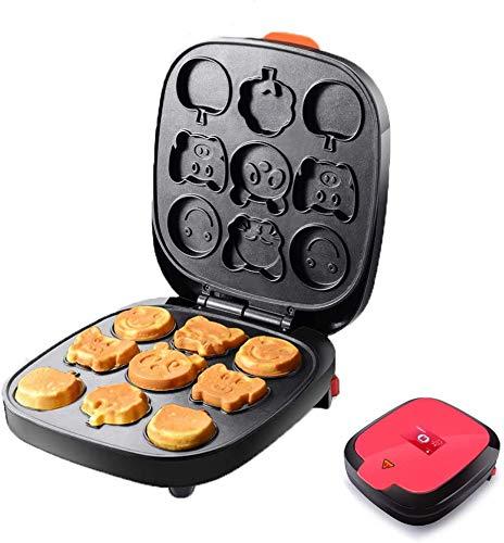 Cake Maker/wafelijzer Multi-Functionele Snack Maker met non-stick platen Snoerwikkeling Waffle Makers met 9 Cartoon Mold voor Kinderen,Red