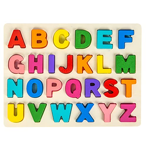 Attmu Toddlers Wooden Alphabet Puzzles Preschoolers ABC Letter Shape Puzzles Educational Learning Toys with Puzzle Board & Chunky Letter Blocks Gift for Boys Girls Age 1 2 3 4 5 6 Years Old