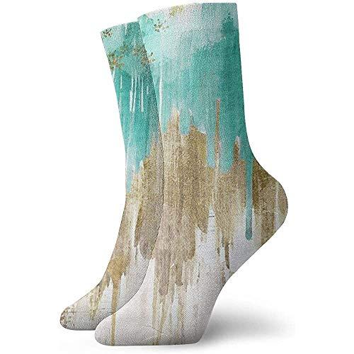 Kevin-Shop Opulence Turkoois Aqua Drippy Ikat Outdoor Vrije tijd bemanning sokken kussen sokken Athletic aangepast