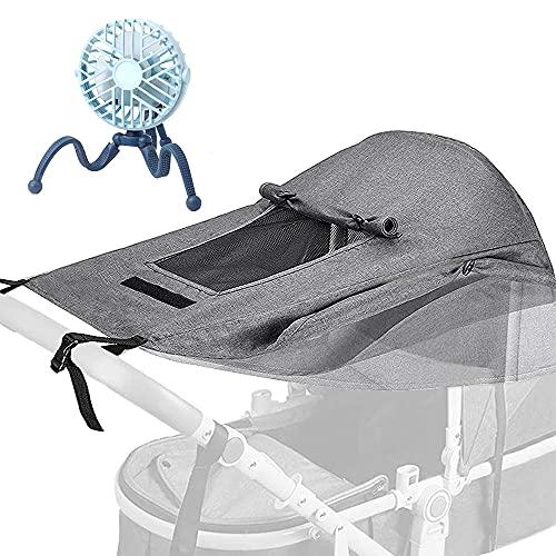 Furado Parasol para Cochecito,Toldo Silla De Paseo,Parasol Ajustable con Protección UV 50+-Gris Claro, Universal y Fácil de Instalar,Refugio Resistente la Intemperie para Cochecitos de Bebé
