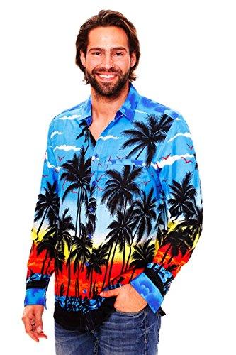 V.H.O. Funky Hawaiian Shirt, LS-Beach, Blue, XS