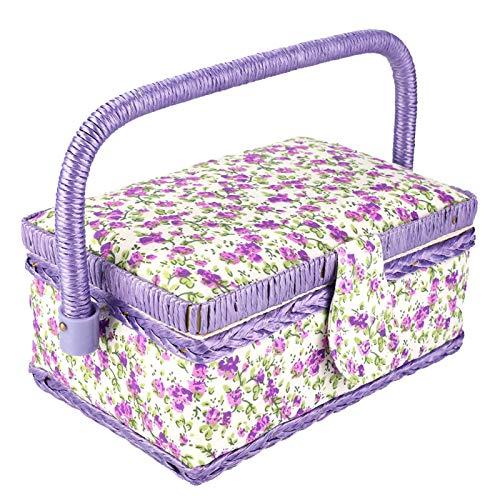 Cesta de costura para el hogar, hecha a mano, cómoda, con asa integrada, para manualidades, cesta de costura, agujas y tijeras para hilos de almacenamiento de botones