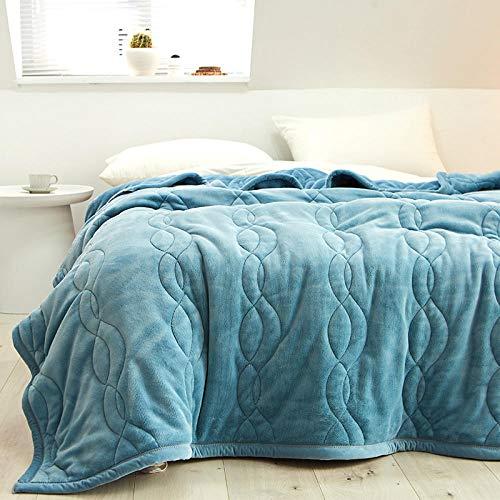 Amosiwallart Mantas para Sofa, Mantas para Cama de Franela Reversible, Mantas Ligeras de 100% Microfibra - Fácil De Limpiar - Extra Suave Cálido -Gris Azul_El 150x200cm