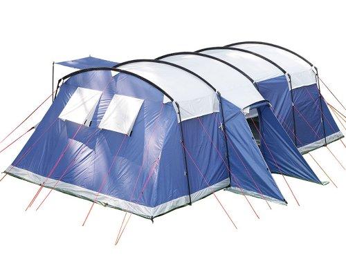 Skandika Milano 10 Personen Familien-Zelt oliv/beige, wasserdicht durch starke 5000 mm Wassersäule. Großes, geräumiges und robustes Steilwand-Zelt, Tunnel-Zelt mit 2 Schlaf-Kabinen, Insekten-Netzen und über 2 m Stehhöhe (blau)