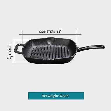 M-COOKER Cast Iron Pre-Seasoned Skillet with Dual Loop Handle - 11 Inch Fry Pan