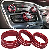 Air Conditioner Switch CD Button Knob for Dodge Challenger Charger Chrysler 300 300s 2015-2021, for Ram 2013-2018 Interior Accessories Decoration Aluminum Alloy (Red)