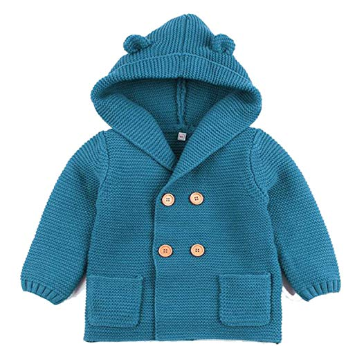 Guy Eugendssg Baby Boys Girls Knit Cardigan Winter Warm Newborn Infant Sweaters Hooded Coat Jacket Outfits Blue 12M