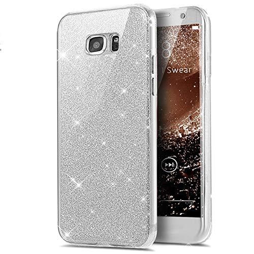Homikon 360 Grad TPU Silikon Hülle Bling Glänzend Glitzer Strass Schutzhülle KomplettDurchsichtige Handyhülle Fullbody Vorne Hinten Rundum Etui Kompatibel mit Samsung Galaxy A3 2015 - Silber