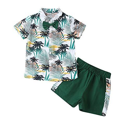 Kleinkind Baby Jungen Sommer Kleidung Set, Kurzarm Boho Blumenknopf T-Shirt Bluse Tops + Kurze Hose 2Pcs Little Boys Sommer Beach Outfits Anzug 1-5 Jahre (Grün, 3-4 Jahre)