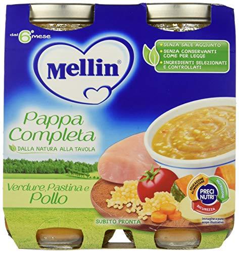 Mellin Pappa Completa Verdure Pastina e Pollo 100% Naturale – 12 Vasetti da 250 gr