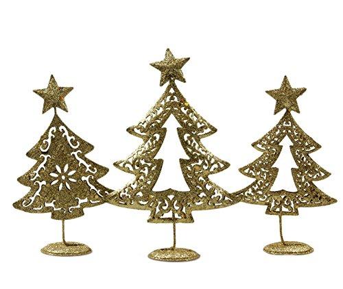 Kentop Lot DE 3 Décoration de Noël Arbre de Noël Bijoux Or en Fer
