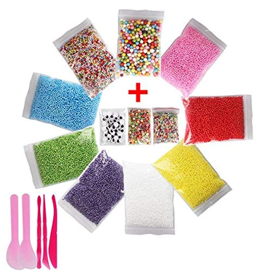 Aprince Slime Charm Foam Beads Slime Foam Balls 9 Pack Colorful 0.08-0.35 Inch Styrofoam Beads (35000 pcs) for Party Decorations, Bonus Fruit Slices + Googly Eyes + Mixed Sequins + 5 Slime Tools
