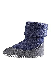 Falke unisex children, Cosyshoe K SO- 10560, slippers with non-slip nubs, merino wool, 1-pack, blue (Dark Blue 6680), 29-30