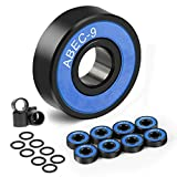 AGEEN Skateboard Bearings - Premium 608rs Ball Bearings with 4 Spacers and 8 Washers for Longboards, Quad Skate, Kick Scooter, Spinners, Inline Wheels, Roller Skates, 8-Pack