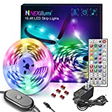 Upgraded 16.4ft LED Strip Lights with Remote Music Sync LED Lights for Bedroom Color Changing SMD5050 RGB LED Strips for Desk, Dorm, Under The Cabinet, TVs, Rooms (16.4 Ft 44 Keys Remote+ Mic Control)