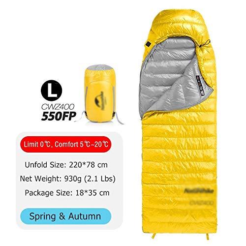 Générique Sac de Couchage Ultra léger 4 Saisons carré en Duvet d'oie imperméable par Temps Froid Camping Nemo Sac de Couchage (Couleur : 550 FP Jaune L)