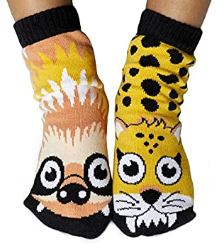 Kids Sloth & Cheetah Zoo Jungle Animal Crazy Socks with Nonskid Grips  Age 4-8