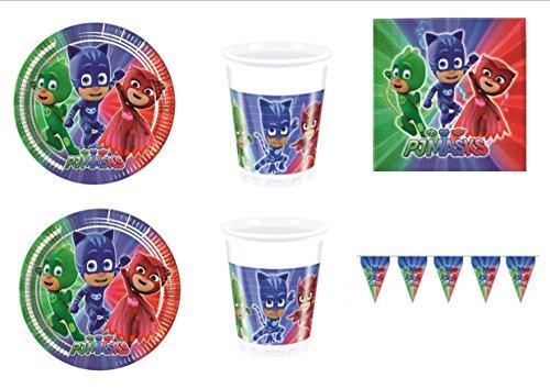 PJ Masks Super pigiamini coordonné décorations fête – Kit N ° 39 CDC- (40 assiettes, verres, 40 serviettes, 1 bannière)