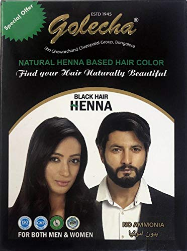 5x10g Golecha Natural Henna Based Hair Color, No Ammonia - BLACK (Natürliche Herbal Haarfarbe - Schwarz)