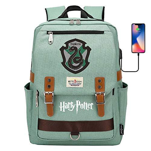 DDDWWW Slytherin Rucksack Harry Potter Tasche, multifunktionale große Kapazität Schüler Schule Tasche, Laptop-Rucksack mit USB-Anschluss Retro Grün