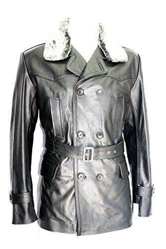 Générique Classic allemand U bateau Style militaire col de fourrure Noir véritable Masquer manteau de cuir (UK 3XL / EU 58)