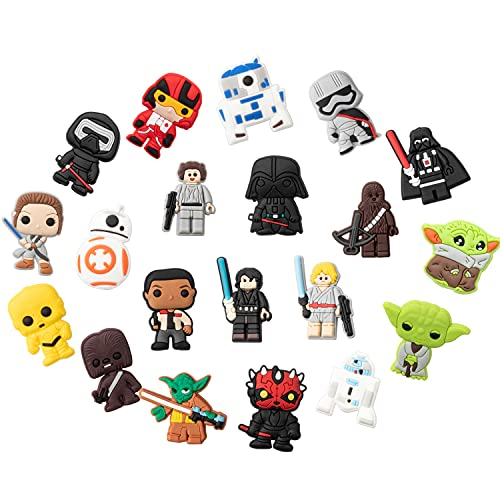 K1tpde 20PCS SW Themed Clog Shoes Charm for Kids  Cartoons SW Clog Shoe decor for Boys  Bracelet Wristband Party Gift  Kids Birthday Gift  Charm for Teens Slip on  Different Shape Charm  Boys Favorite