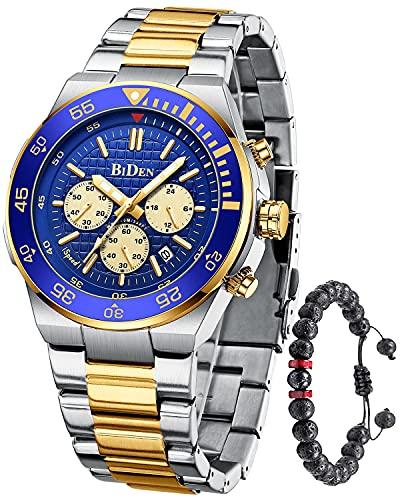 Herren Uhr Analog Quarz Chronographen Wasserdicht 30M Edelstahl Uhren Business Mode Casual Sport Gold Blau Design Armbanduhr für Herren