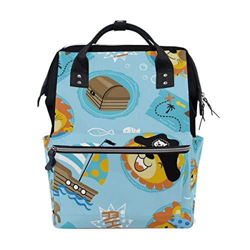 Divertida mochila con diseño de pirata del tesoro del mar de dibujos animados de gran capacidad, multifunción, bolsa de viaje para mamás mujeres