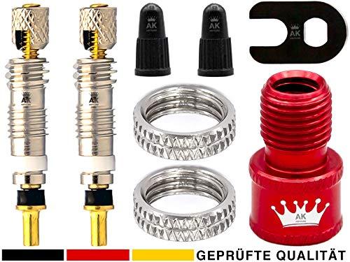 8-Teile Sclaverandventil-Ersatz Set: FahrradVentil-Einsätze + Adapter Auto-Ventil Luft-Pumpe Kompressor Aufsatz + Schraubenschlüssel + Ventilkappe, französische Presta Sclaverand SV Rennrad-Ventile