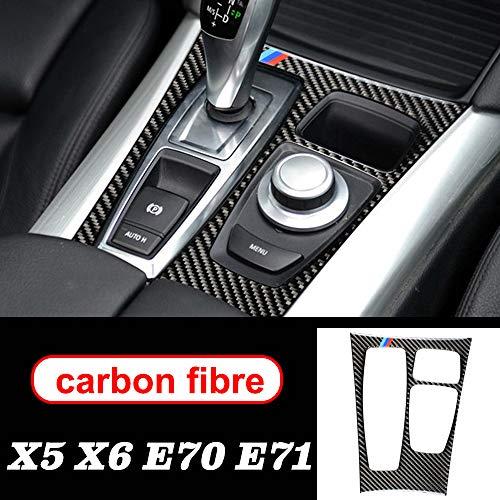 FSXTLLL Per BMW X5 X6 E70 E71 2008 2013, LHD RHD Interni in Fibra di Carbonio Pannello di Controllo Portabicchieri Cornice Cornice Adesivo per Auto